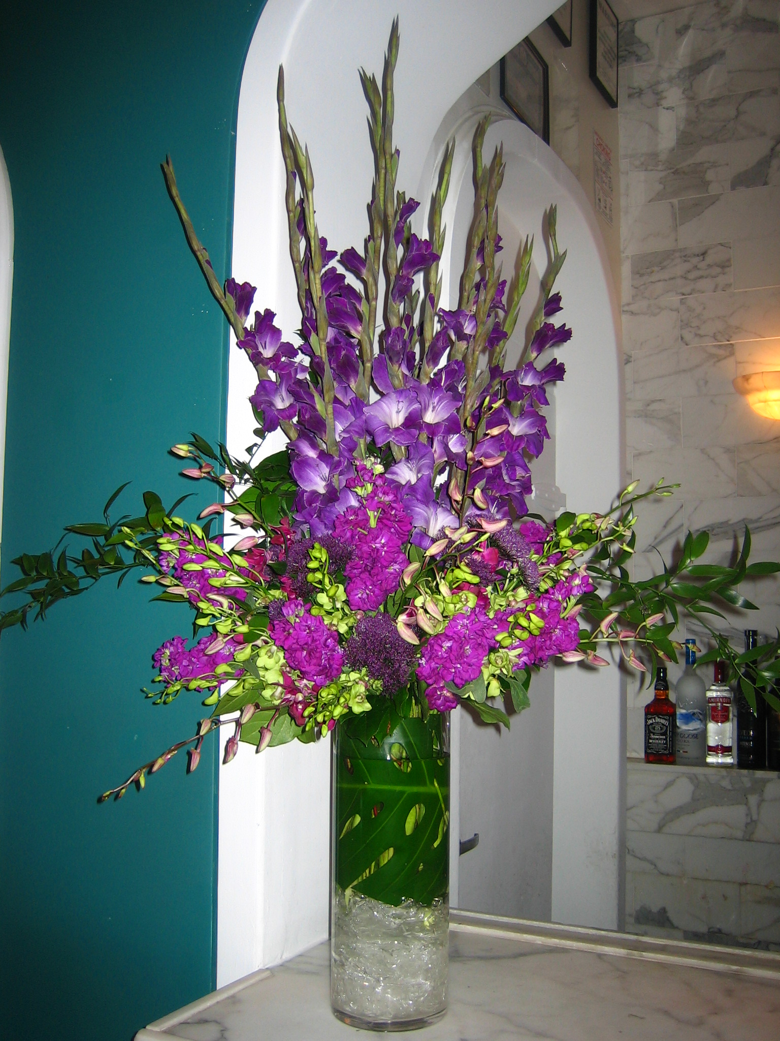 Purple gladiolus centerpiece pixshark images