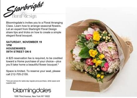 Meet us at Bloomingdale's for a fantastic flower arranging adventure!