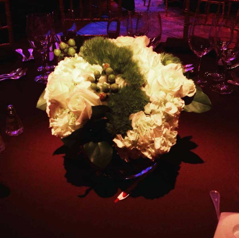 The lavish flowers celebrated the Drama League's spectacular evening.