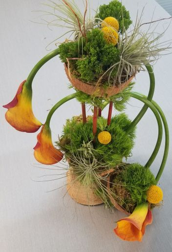 Calla lilies and mosses beflower our tropical coconuts.