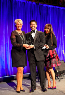 Stephen, center, with Loida Diaz, President of the New York City Association of Hotel Concierges, right, presenting the award for Best Hotel Amenities to Susanne Hatje, General Manager of the Mandarin Oriental Hotel, left.
